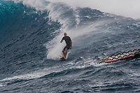 Namotu Island Resort, Nadi, Fiji (Sunday, May 27th 2018): Dan Ross (AUS) - <br /> There had been strong SE winds all night along with heavy rain so the ocean was messy at first light. Cloudbreak was big and bumpy at dawn and the namotu boat was the first in the line up. The set waves were in the 15' plus range  and the ocean needed to settle down before any one hit the water.<br /> As the tide dropped it cleaned up and the first surfers paddled out. The first ridden waves were tow-in and in the 20' plus range. The swell was the biggest just after the low tide and stayed in the 15'-20' range for the rest of the day.<br /> Crew paddled and towed into the waves and there were also crew who kite surfed when the wind ws strong enought.<br /> There were strong wind all day and overcast conditions with long periods of rain. The huge swell forecast had big wave surfers flying in from around the world and it had already been call the 'Black Mamba' swell, one of the biggest to hit Fiji in the past six years.  <br /> Photo: joliphotos.com