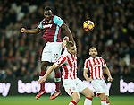 West Ham's Michail Antonio tussles with Stoke's Ryan Shawcross during the Premier League match at the London Stadium, London. Picture date November 5th, 2016 Pic David Klein/Sportimage