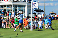 Mirim Lee (KOR) watches her tee shot on 16 during Sunday's final round of the 72nd U.S. Women's Open Championship, at Trump National Golf Club, Bedminster, New Jersey. 7/16/2017.<br /> Picture: Golffile | Ken Murray<br /> <br /> <br /> All photo usage must carry mandatory copyright credit (&copy; Golffile | Ken Murray)