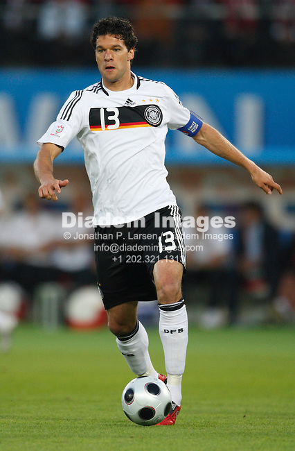 VIENNA - JUNE 16:  German National Team captain Michael Ballack dribbles the ball during a UEFA Euro 2008 Group B match against Austria at Ernst Happel Stadion June 16, 2008 in Vienna, Austria.  (Photograph by Jonathan P. Larsen)