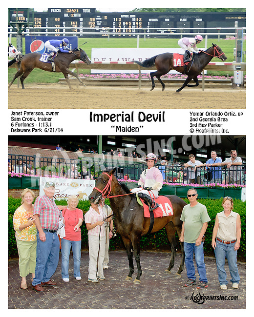 Imperial Devil winning at Delaware Park racetrack on 6/21/14