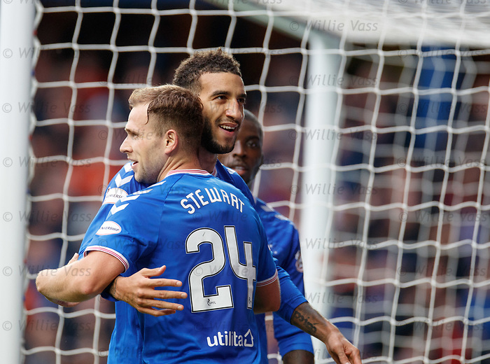 06.10.2019 Rangers v Hamilton: Connor Goldson takes the acclaim for his goal