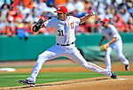 12 March 2011: Washington Nationals' pitcher John Lannan, on the mound to start a Spring Training game against the New York Yankees at Space Coast Stadium in Viera, Florida. The Nationals edged out the Yankees 6-5 in Grapefruit League action. Mandatory Credit: Ed Wolfstein Photo