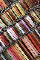Italian leather belts for sale in a market stall, Mercato Nuovo, Florence, Italy