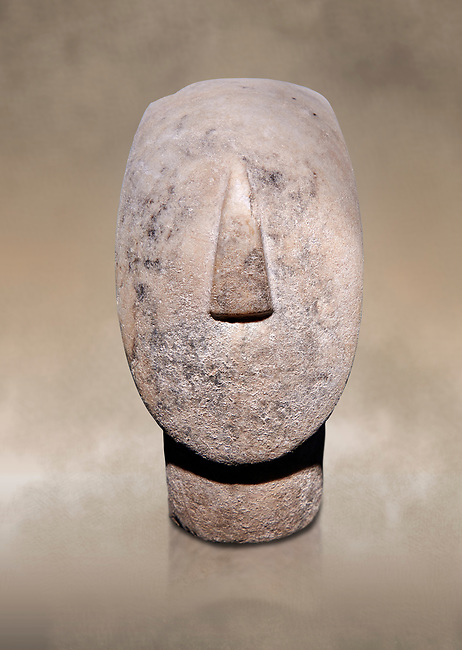 Large Cycladic Canonical type, Spedos variety female figurine head. Early Cycladic Period II from Syros phase , (2800-2300 BC). Museum of Cycladic Art Athens, cat no 284