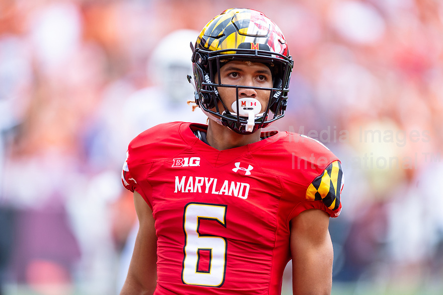 Landover, MD - September 1, 2018: Maryland Terrapins wide receiver Jeshaun Jones (6) gives the Texas fans a death stare after scoring on a 65 yard touchdown during game between Maryland and No. 23 ranked Texas at FedEx Field in Landover, MD. The Terrapins upset the Longhorns in back to back season openers with a 34-29 win. (Photo by Phillip Peters/Media Images International)