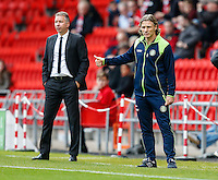 Manager of Doncaster Rovers Darren Ferguson and Manager of Wycombe Wanderers Gareth Ainsworth look on during the Sky Bet League 2 match between Doncaster Rovers and Wycombe Wanderers at the Keepmoat Stadium, Doncaster, England on 29 October 2016. Photo by David Horn.