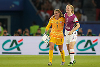 PARIS, FRANCE - JUNE 28: Alyssa Naeher #1, Samantha Mewis #3 during a 2019 FIFA Women's World Cup France quarter-final match between France and the United States at Parc des Princes on June 28, 2019 in Paris, France.