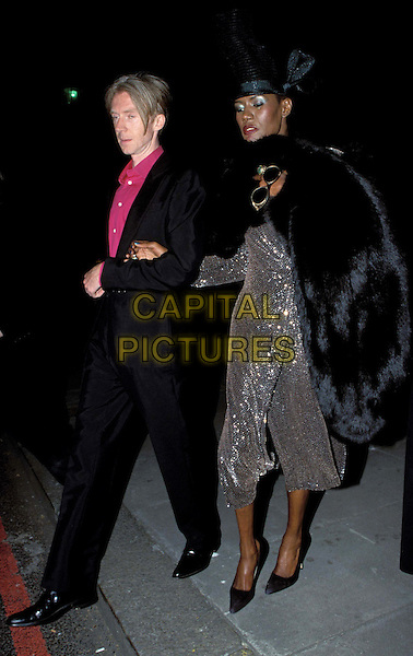 GRACE JONES..Philip Treacy Tribute at the V&A Museum ..Ref: 11579..fur..www.capitalpictures.com..sales@capitalpictures.com..©Capital Pictures..full length, full-length