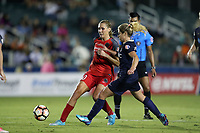 Cary, NC - Saturday April 22, 2017: Allie Long (10) and McCall Zerboni (right) during a regular season National Women's Soccer League (NWSL) match between the North Carolina Courage and the Portland Thorns FC at Sahlen's Stadium at WakeMed Soccer Park.