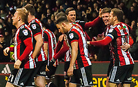 Sheffield United's forward Billy Sharp (10) congratulates scorer Sheffield United's midfielder John Lundstram (7) during the Sky Bet Championship match between Sheff United and Queens Park Rangers at Bramall Lane, Sheffield, England on 20 February 2018. Photo by Stephen Buckley / PRiME Media Images.