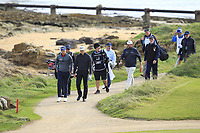 Matt Wallace (ENG) and Shane Lowry (IRL) walking off the 3rd tee during Round 2 of the Alfred Dunhill Links Championship 2019 at Kingbarns Golf CLub, Fife, Scotland. 27/09/2019.<br /> Picture Thos Caffrey / Golffile.ie<br /> <br /> All photo usage must carry mandatory copyright credit (© Golffile | Thos Caffrey)