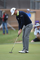 Zach Johnson (USA) sinks his putt on 18 during Round 2 of the Valero Texas Open, AT&T Oaks Course, TPC San Antonio, San Antonio, Texas, USA. 4/20/2018.<br /> Picture: Golffile | Ken Murray<br /> <br /> <br /> All photo usage must carry mandatory copyright credit (© Golffile | Ken Murray)