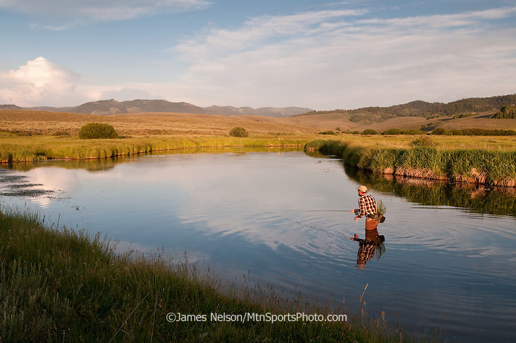 An angler fly fishes for trout during a summer evening on the Blackfoot River, Idaho.