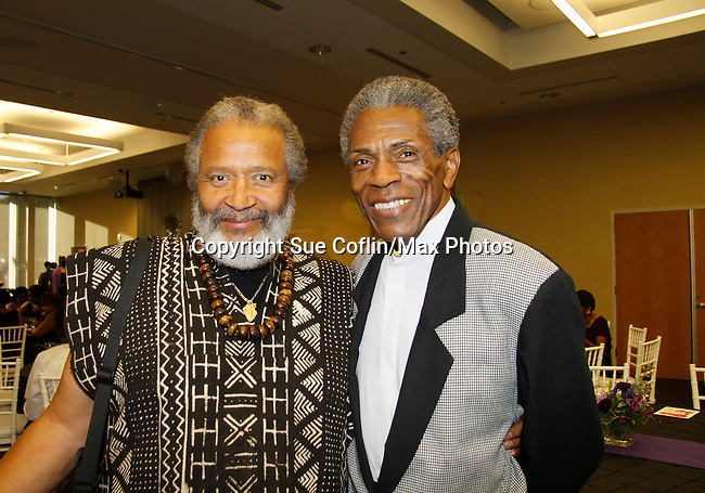 "Andre De Shields ""Marshall Lincoln Kramer III"" - Another World (C) poses with Count Stovall (AMC, ATWT, Doctors) and actor Bill Cobbs at The National Black Theatre Festival with a week of plays, workshops and much more with an opening night gala of dinner, awards presentation followed by Black Stars of the Great White Way followed by a celebrity reception. It is an International Celebration and Reunion of Spirit. (Photo by Sue Coflin/Max Photos)"