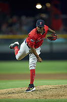 Salem Red Sox relief pitcher Joan Martinez (29) follows through on his delivery against the Fayetteville Woodpeckers at Segra Stadium on May 15, 2019 in Fayetteville, North Carolina. The Woodpeckers defeated the Red Sox 6-2. (Brian Westerholt/Four Seam Images)