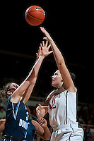 STANFORD, CA - NOVEMBER 17: Sarah Boothe hooks two as Stanford hosted Old Dominion University at Maples Pavilion. The Cardinal defeated Big Blue 97-48.