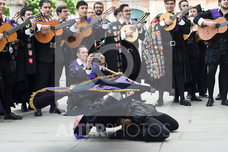 """King Felipe VI of Spain and Queen Letizia with """"La Tuna"""" during award ceremony of literature in Spanish """"Miguel de Cervantes"""" at University of Alcala de Henares in Madrid., April 20, 2017. Spain.<br /> (ALTERPHOTOS/BorjaB.Hojas)"""