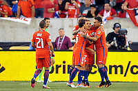 Philadelphia, PA - Tuesday June 14, 2016: Eduardo Vargas celebrates a goal during a Copa America Centenario Group D match between Chile (CHI) and Panama (PAN) at Lincoln Financial Field.