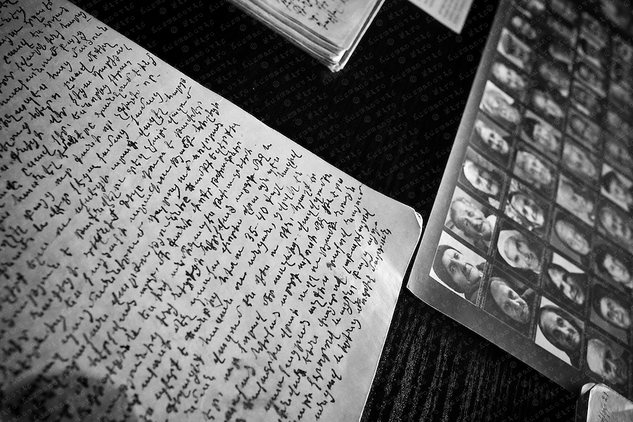 The handwritten memories of Armenian Genocide survivors are displayed next to their photographs at the Tsitsernakaberd, a memorial dedicated to the victims of the Armenian Genocide is located on a hill overlooking Yerevan, Armenia. Every year on April 24, hundreds of thousands of Armenians gather here to remember the victims of the 1915 Armenian Genocide that took place in the Ottoman Empire carried out by the Turkish government.