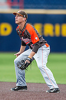 Bowling Green Falcons second baseman Derek Drewes (5) on defense against the Michigan Wolverines on April 6, 2016 at Ray Fisher Stadium in Ann Arbor, Michigan. Michigan defeated Bowling Green 5-0. (Andrew Woolley/Four Seam Images)