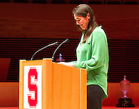 STANFORD, CA.,--OCTOBER 11, 2014---The  introduction of Anika Leerssen, at  the Stanford Athletics Hall of Fame  Induction Ceremony at the Stanford Bing Concert Hall on the Stanford University Campus.