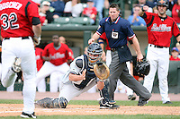 June 1st 2008:  Catcher JD Closser (30) of the Scranton Wilkes-Barre Yankees, Class-AAA affiliate of the New York Yankees, blocks the plate as Brian Buscher comes in to score during a game at Frontier Field in Rochester, NY.  Photo By Mike Janes/Four Seam Images