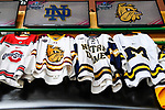 ST PAUL, MN - APRIL 7: The national semifinalist sweaters hang during the Division I Men's Ice Hockey Championship held at the Xcel Energy Center on April 7, 2018 in St Paul, Minnesota. (Photo by Tim Nwachukwu/NCAA Photos via Getty Images)
