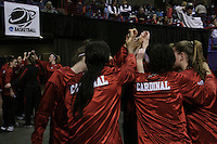 29 March 2008: Candice Wiggins, JJ Hones, Rosalyn Gold-Onwude, Jeanette Pohlen, Jillian Harmon, Morgan Clyburn, Michelle Harrison, Kayla Pedersen and the team during Stanford's 72-53 win over Pitt in the sweet sixteen game of the NCAA Division 1 Women's Basketball Championship in Spokane, WA.