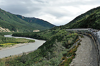 The Alaska Railroad's Denali Star train runs along the Nenana River just north of the Denali Depot.
