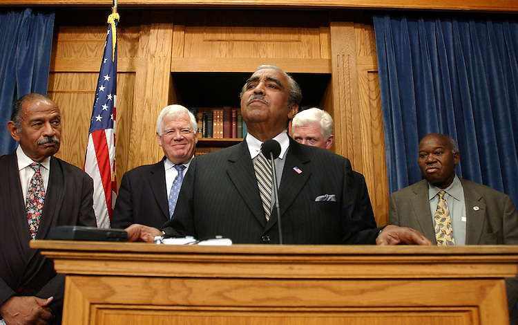 From left, Reps. John Conyers, Jim McDermott, D-Wash., Charlie Rangel, D-N.Y., Jim Moran, D-Va., and Major Owens, D-N.Y., attend a news conference on the possibility of the military draft.