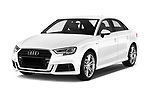 2017 Audi A3 S-Line 4 Door Sedan Angular Front stock photos of front three quarter view