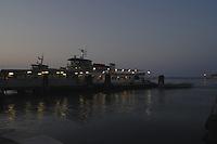 Vaporeto/ waterbus moored on the lagoon in Venice.