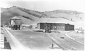 D&amp;RGW Sargent roundhouse and water tank, looking west.<br /> D&amp;RGW  Sargent, CO  Taken by Merritt, Paul - 8/14/1939
