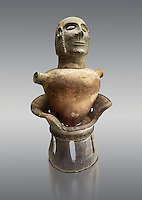 End of 7th to start of 6th century B.C Etruscan Canopo style vase used to hold funereal ashes from Chiusi, inv 94610, National Archaeological Museum Florence, Italy , against grey