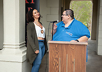 "Jesus Maldonado '00, Director of Upward Bound, and Ashley Lizarraga.<br /> Upward Bound hosts their annual ""End of the Year"" celebration with participants and their families on May 12, 2018 in the courtyard of Booth Hall. Jimmy Gomez, U.S. Representative for California's 34th congressional district, was the featured speaker at the event.<br /> Upward Bound was established at Occidental College in 1966 and has since served over 2000 first generation, low income students in the Los Angeles region.<br /> (Photo by Marc Campos, Occidental College Photographer)"