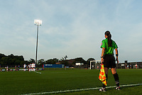 An assistant referee. Sky Blue FC and the Portland Thorns played to a 0-0 tie during a National Women's Soccer League (NWSL) match at Yurcak Field in Piscataway, NJ, on June 22, 2013.