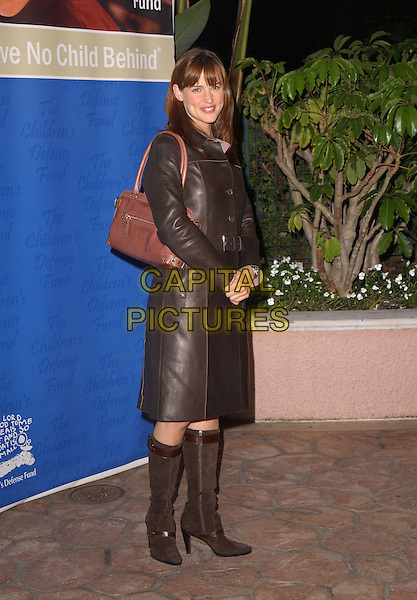 JENNIFER GARNER.The Children's Defense Fund's 14th Annual L.A. Beat the Odds Gala held at The Beverly Hills Hotel in Beverly Hills, California .October 5th, 2004.full length, black brown leather jacket, brown suede knee high boots, hands clasped, brown bag, purse.www.capitalpictures.com.sales@capitalpictures.com.Copyright 2004 by Debbie VanStory
