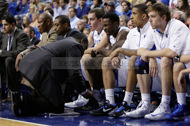 UK freshman guard Archie Goodwin get his ankle tended to on the bench in the second half against LIU at Rupp Arena on Friday, Nov. 23, 2012. Photo by Scott Hannigan | Staff