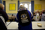 Everton 2 Wolves 1, 19/11/2011. Goodison Park, Premier League. Fans in the church hall adjacent to Goodison Park, before the game. Photo by Paul Thompson.