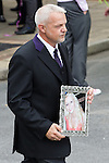 © Joel Goodman - 07973 332324 . 09/08/2013 . Salford , UK . Linzi's portrait is carried to the hearse . The funeral of Linzi Ashton at St Paul's C of E Church in Salford , today (9th August 2013) . Linzi Ashton (25) was found murdered in her home on Westbourne Road in Salford on 29th June . Michael Cope is standing trial, accused of murdering, raping and assaulting her . Photo credit : Joel Goodman