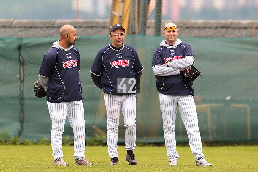 04 June 2010: Keino Perez, Francois Colombier, Robin Roy, are seen  prior to the 2010 Baseball European Cup match won  20-7 by Heidenheim Heidekopfe over the Rouen Huskies, at the Kravi Hora ballpark, in Brno, Czech Republic.