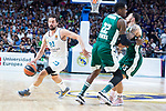 Real Madrid Sergio Llull and Panathinaikos Kenny Gabriel and Mike James during Turkish Airlines Euroleague Quarter Finals 4th match between Real Madrid and Panathinaikos at Wizink Center in Madrid, Spain. April 27, 2018. (ALTERPHOTOS/Borja B.Hojas)