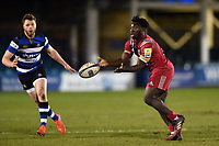 Gabriel Ibitoye of Harlequins A passes the ball. Aviva A-League match, between Bath United and Harlequins A on March 26, 2018 at the Recreation Ground in Bath, England. Photo by: Patrick Khachfe / Onside Images