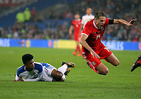 David Edwards of Wales (R) is fouled by Luis Ovalle of Panama for which a penalty was awarded during the international friendly soccer match between Wales and Panama at Cardiff City Stadium, Cardiff, Wales, UK. Tuesday 14 November 2017.
