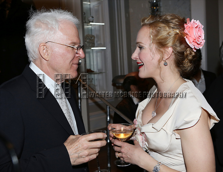 Steve Martin and Katie Finneran attend the re-opening night performance backstage reception for 'It's Only A Play' at the Bernard B. Jacobs Theatre on January 23, 2014 in New York City.