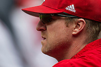 Nebraska Cornhuskers Head Coach Darin Erstad (17) watches the action from the dugout during the NCAA baseball game against the Hawaii Rainbow Warriors on March 7, 2015 at the Houston College Classic held at Minute Maid Park in Houston, Texas. Nebraska defeated Hawaii 4-3. (Andrew Woolley/Four Seam Images)
