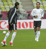 EURO 2012 - POLAND - Gdansk - 21 JUNE 2012 - Germany Offcial MD-1 Training Session at PGE Arena of Gdansk. German players Sami Khedira and Mesut ÷zil.