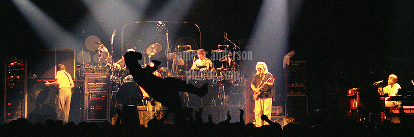 "Inflatable Dino makes the rounds at The Grateful Dead Live, Hampton Coliseum 8 October 1989. This Panoramic View is Available in 2 sizes: 10x30"" and 20x60"", custom signed limited edition prints."