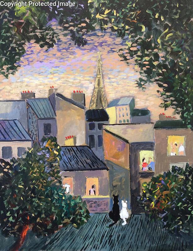 &quot;Bonjour Paris!&quot;<br /> ORIGINAL<br /> Acrylic on Canvas<br /> 10.25&quot; x 13.75&quot;<br /> $5,000.